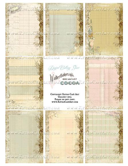 Altered Ledger Mix Size Collage Sheet - SC89