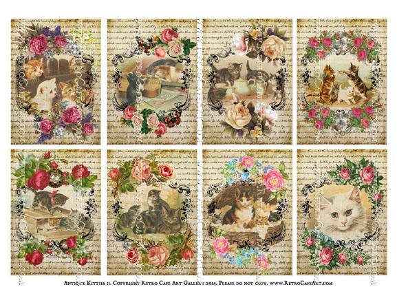 Antique Kitties II ATC Size Collage Sheet - SC8