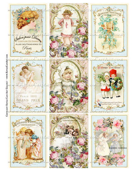 Pretty Mix ATC Size Collage Sheet - SC91