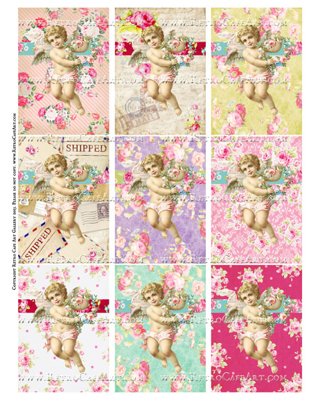 Vintage Valentine Cupids ATC Size Collage Sheet - SC93