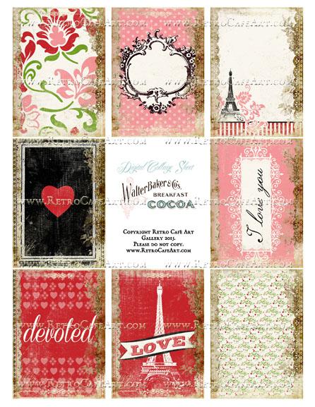 Amore ATC Size Collage Sheet - SC94