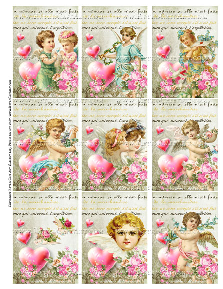 Valentine Rhapsody ATC Size Collage Sheet - SC95