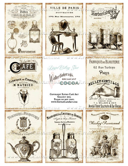 Antique Ads ATC Size Collage Sheet - SC96