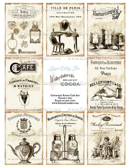 Antique Ads ATC Size Collage Sheet - SC96