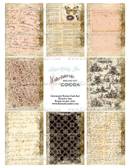 Shabby Dictionary ATC Size Collage Sheet - SC99