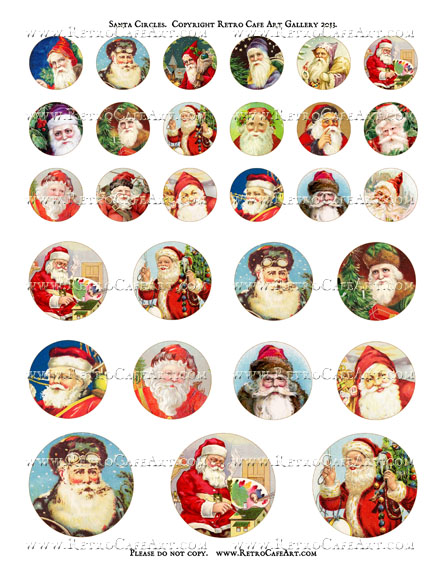 Santa Circles Collage Sheet