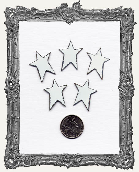 Distressed White Small Tin Stars PACK OF 5