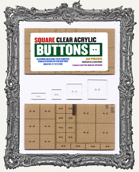 Clear Acrylic Tags - SQUARE BUTTONS