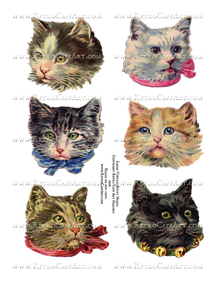Extra Large Vintage Kitty Heads Collage Sheet