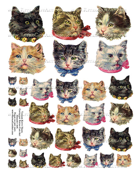 Vintage Kitty Heads Collage Sheet