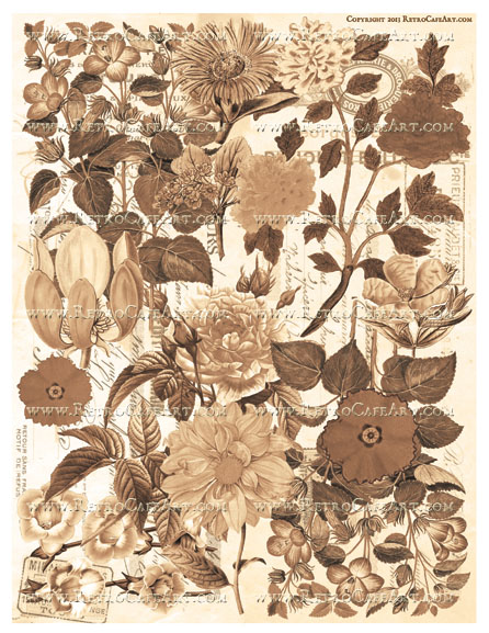 Wild Flower Background Collage Sheet - Sepia
