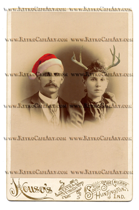 William and Anna WITH SANTA HAT & ANTLERS Cabinet Card Digital Image