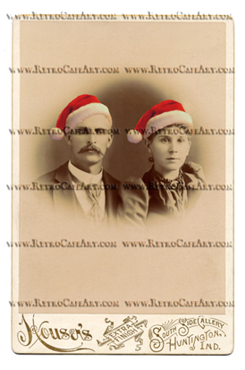 William and Anna WITH SANTA HATS Cabinet Card Digital Image