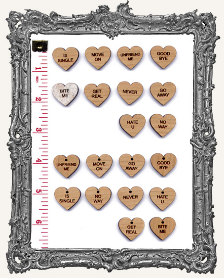 ANTI-VALENTINES Candy Heart Charms Set 2 - Pack of 10