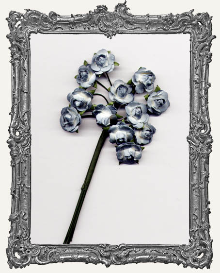 Antique Blue Mini Paper Roses - 12