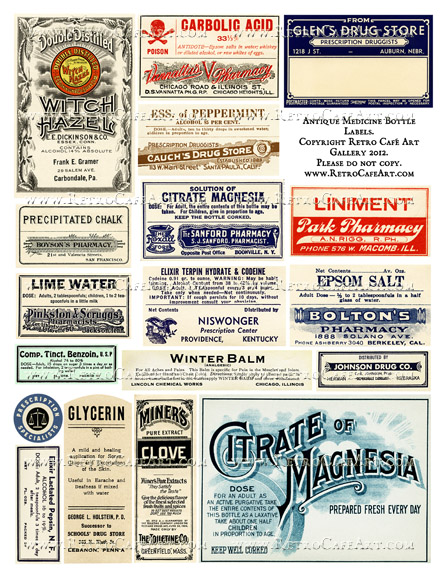 Antique Medicine Bottle Label Collage Sheet