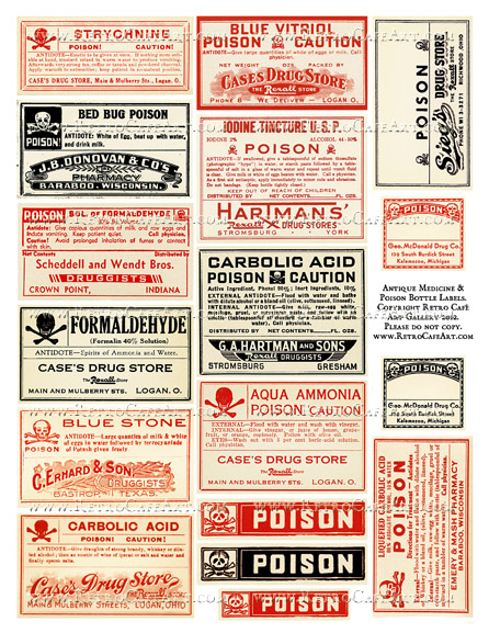 Antique Medicine and Poison Bottle Label Collage Sheet