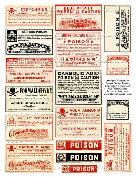 Antique Medicine And Poison Bottle Label Collage Sheet