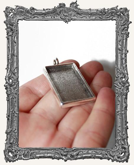 Deep Welled Antique Silver Rectangle Pendant Bezel