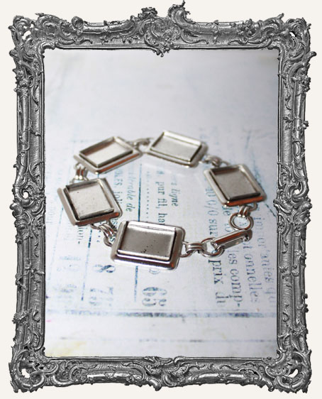Deep Welled Antique Silver Link Bracelet With Rectangle Bezels