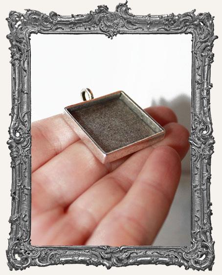 Deep Welled Antique Silver 1 Inch Square Pendant Bezel