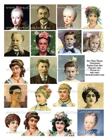 Art Doll Head Collage Sheet