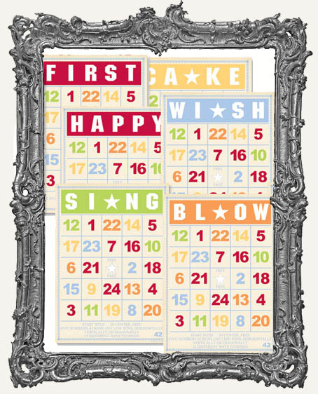Jenni Bowlin Studio Bingo Cards 5 x 7 Inch BIRTHDAY SET - 6