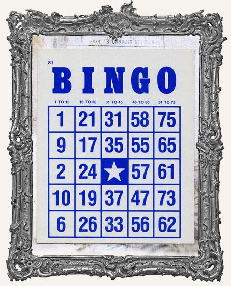 Vintage Cardboard Bingo Card - Blue