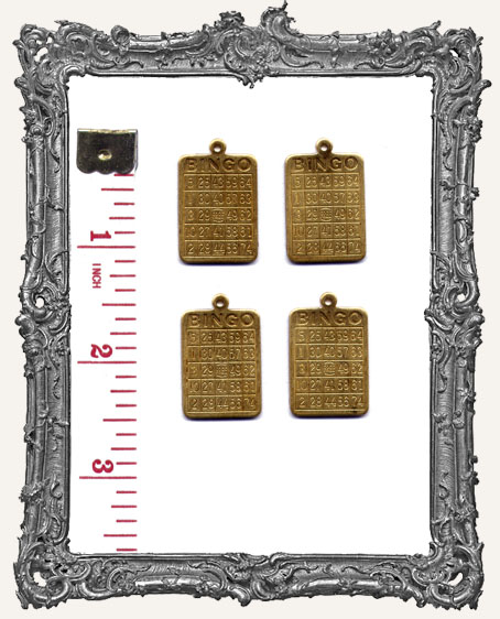 Brass Bingo Cards WITH CHARM LOOP - Set of 4