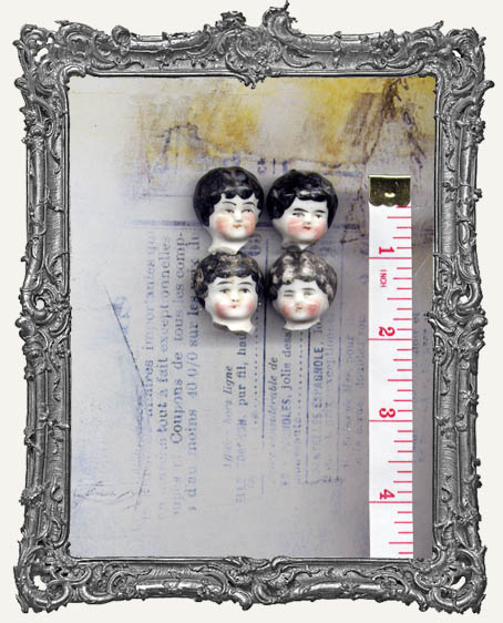 One Antique Hand-painted China German Doll Head BLACK Hair EXTRA SMALL 1 Inch or Less