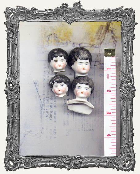 One Antique Hand-painted China German Doll Head BLACK Hair SMALL 1 - 1.25 Inch