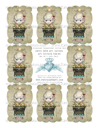 Whimsical Typewriter Dollie Gift Tags
