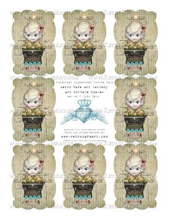 Whimsical Typewriter Dollie Gift Tags