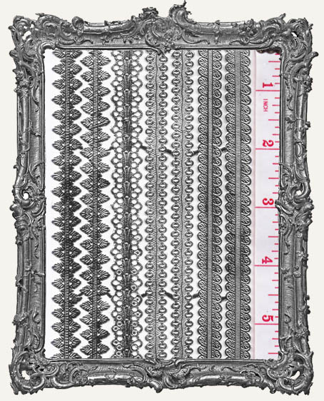 German Dresden Border Assorted Design SILVER 7 Strips