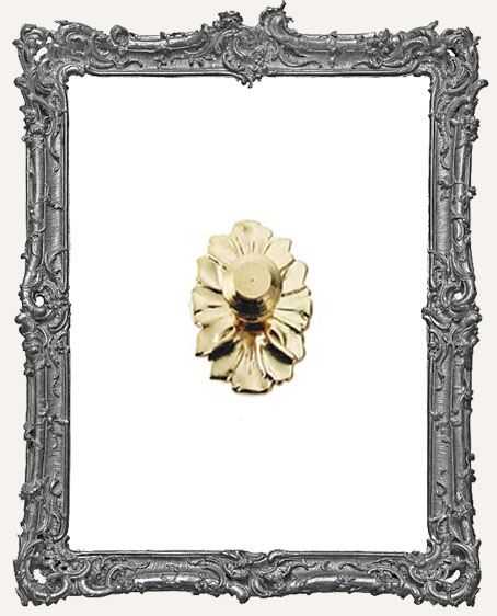 Tiny Brass Door Knob Plate - Plain Floral