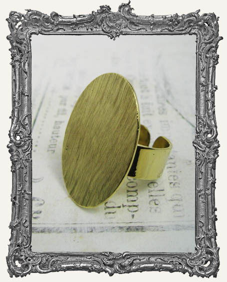 BRASS FLAT Ring Blank Adjustable OVAL