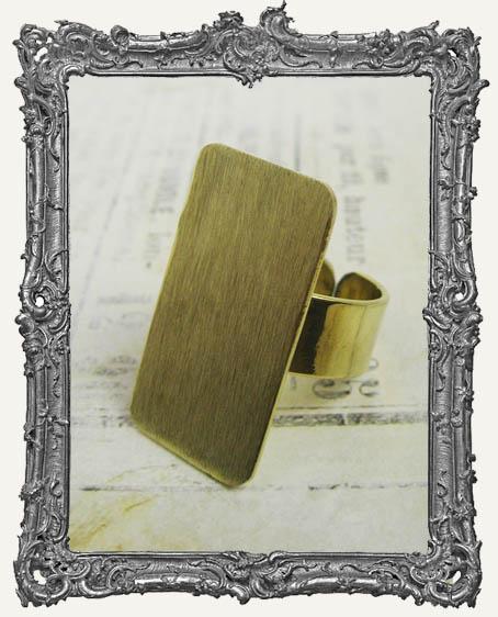 BRASS FLAT Ring Blank Adjustable RECTANGLE