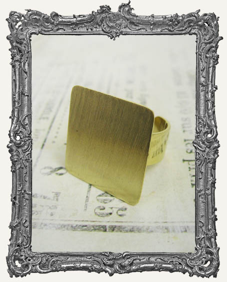 BRASS FLAT Ring Blank Adjustable SQUARE