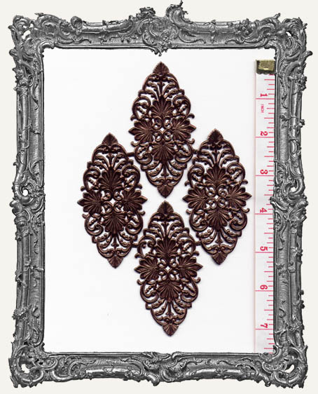 German Dresden BROWN Victorian Decorations 4 Piece
