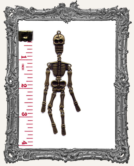 Antique Brass Articulated Skeleton Pendant Charm - 1 Piece