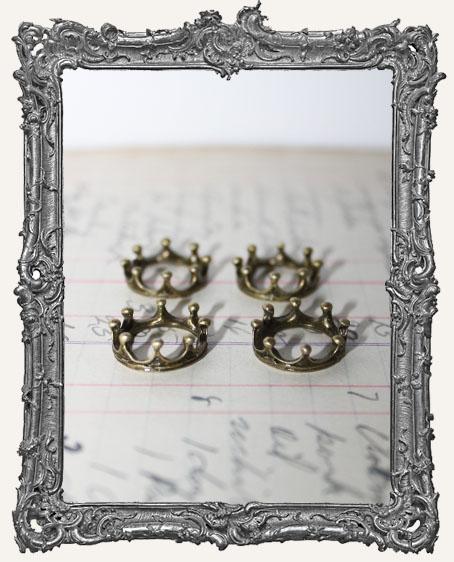 Antique Brass Crowns - Set of 4