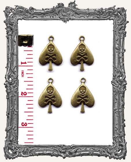 Antique Brass Skull and Crossbones Card Suit Charms - Set of 4