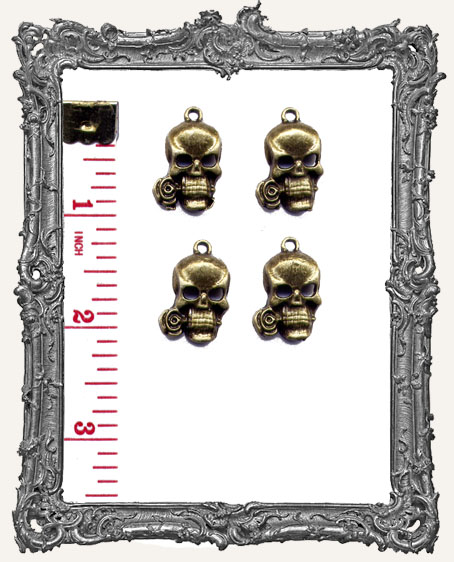 Antique Brass Skulls with Roses Charms - Set of 4