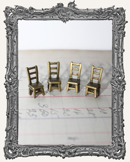 Antique Brass Tiny Chairs - Set of 4