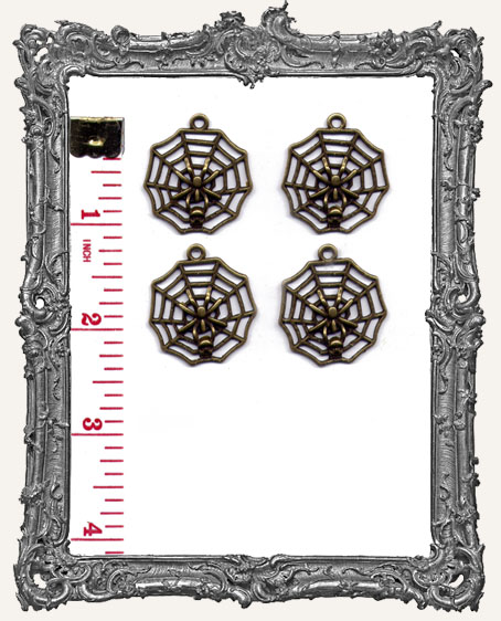 Antique Brass Spiderweb and Skull Charms - Set of 4