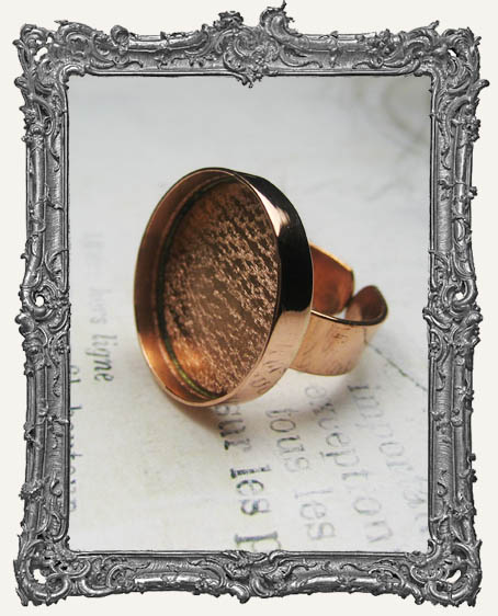 COPPER Deep Welled Ring Blank Bezel Adjustable CIRCLE