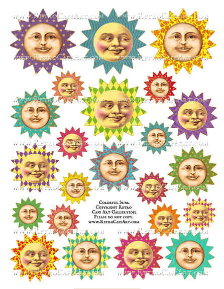 Colorful Suns Collage Sheet