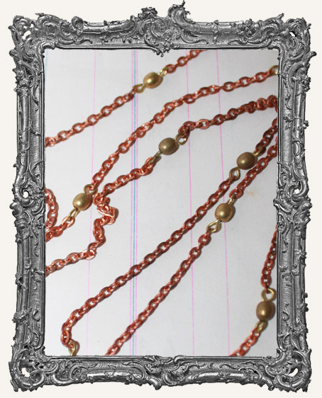 Vintage Copper and Brass Bead Chain - 1 Yard