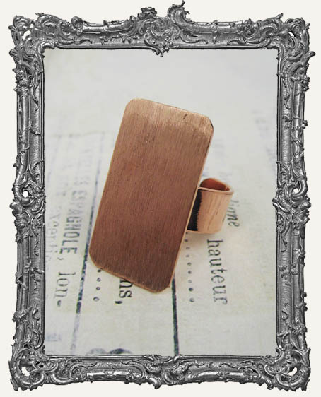 COPPER FLAT Ring Blank Adjustable RECTANGLE