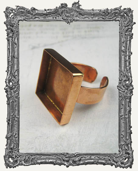 COPPER Deep Welled Ring Blank Bezel Adjustable SQUARE